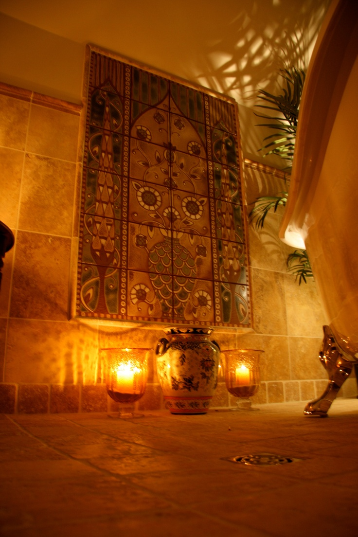 Spa tub room, with mosaic Tree of Life, designed by Justyn Livingston