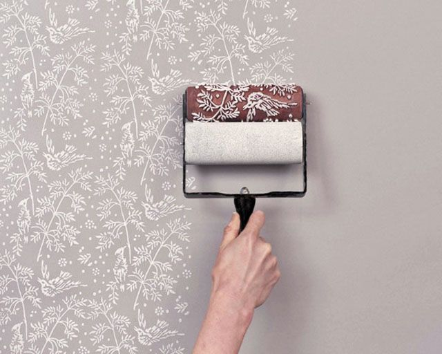 paint rollers, patterned painted wallpaper look