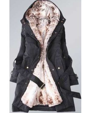 Ladies Parka Style Fur Hooded Winter Coat - Black