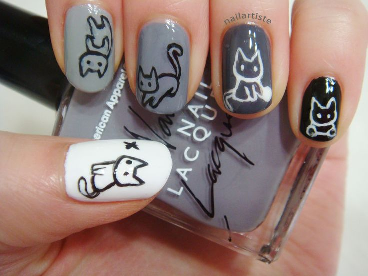 Cat Nails - Too cute! Hate cats but this is cute - Best 25+ Cat Nail Art Ideas On Pinterest Cat Nails, Kitty Nails