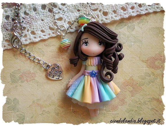 Rainbow princess doll necklace fimo  #princess #doll #necklace #polymerclay #chibi