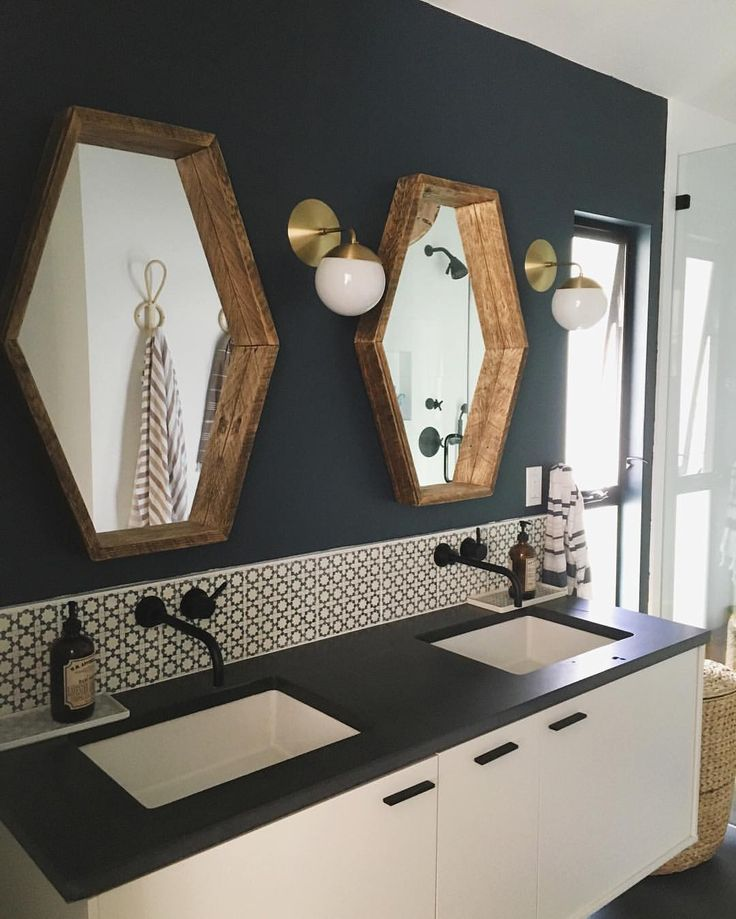 How about this for Hall bath?  Perfect shape for the mirror.