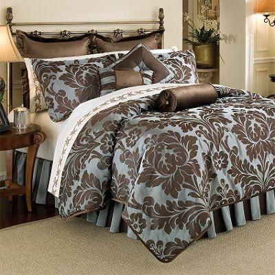 Best Brown Bed Images On Pinterest Bedroom Furniture - Blue and brown damask comforter