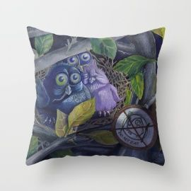 Andrea Demény | Society6 (La Fontaine: Animal tales) https://society6.com/product/owl-gkw_pillow#25=193&18=126 #society6 #throwpillows #owl #owls #animal #illustration #tales #painting