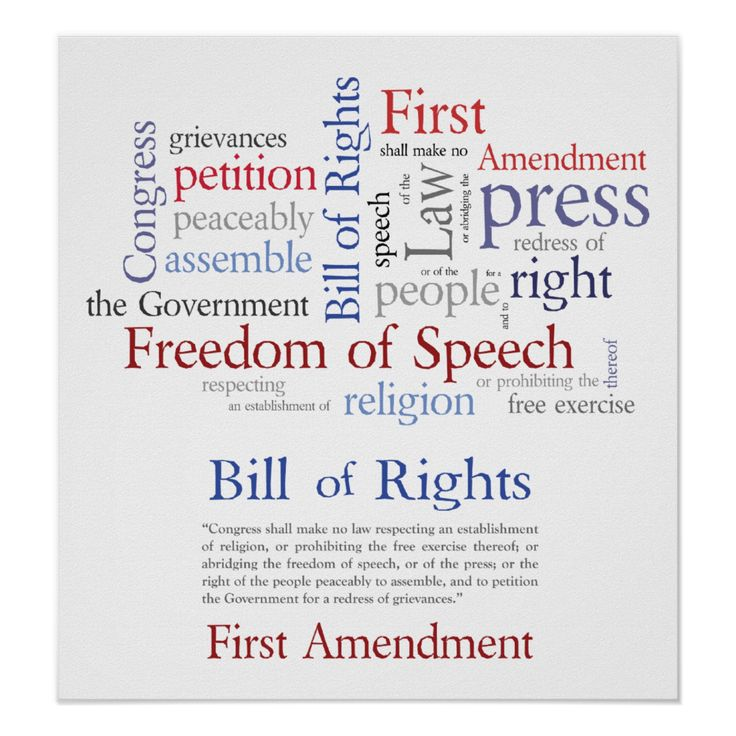 Bill Of Rights  First Amendment Poster  Freedom Of Speech Word