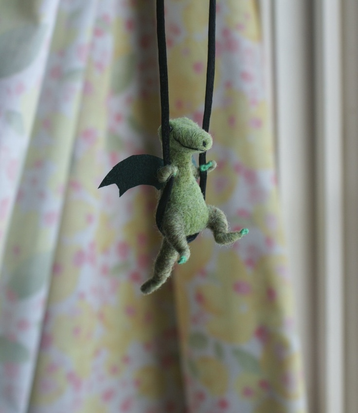 Tiny Dragon Necklace / sculpture - needle felted.