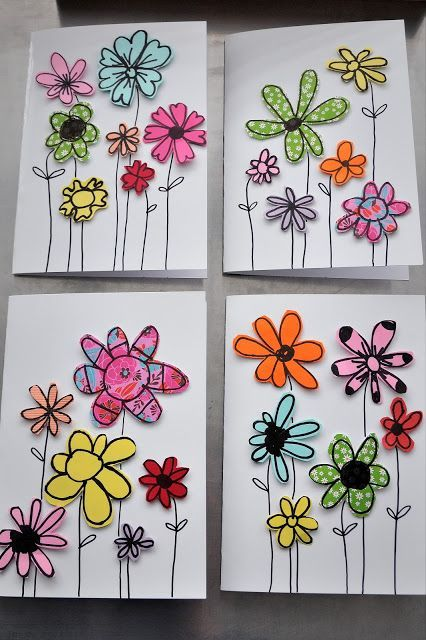 paper scrap greeting cards- perfect craft for kids to make for Mother's Day!: