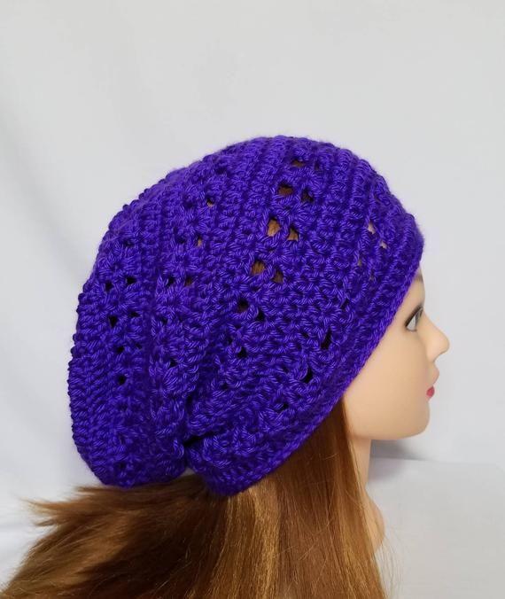 1e056c6ea11 Women s Crochet Purple Slouchy Beanie - Adult (22
