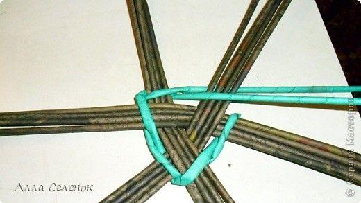 Здравствуйте рукодельницы Страны Мастеров!Сегодня попробовала сплести треугольное дно.И попутно сделала небольшой Мастер-класс.Вот что получилось у меня.Берем 3 раза по 4 трубочки.Укладываем крест накрест.Вот так фото 3