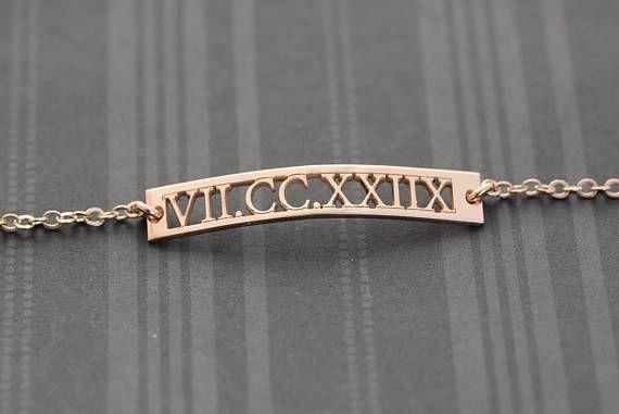 Customized Roman Numeral bracelet, Roman Bar #jewelry #bracelet @EtsyMktgTool #customizedroman #numeralbracelet #romanbarbracelet