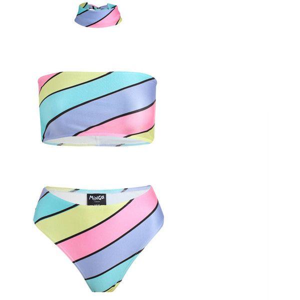 Candy Stripes Bikini Set Bandeau Top Choker Brief High Leg Waist... ($46) ❤ liked on Polyvore featuring silver, swimwear, women's clothing, bandeau tops and bandeau bikini tops