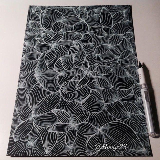 white gel pen on black paper #doodle #draw #doodles #drawing #doodleart…