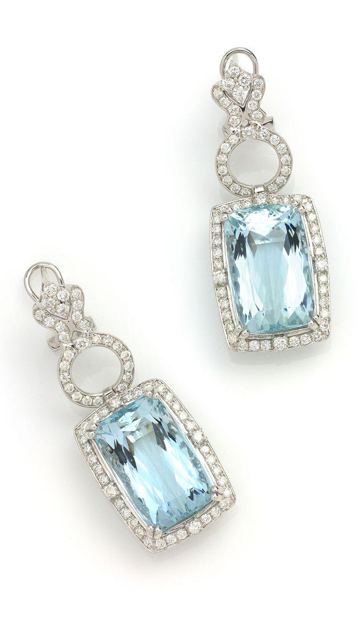 Blue Aquamarine Drop Earrings Item #4164917 2702 Ctw Aquamarine Cushion &  185 Ctw