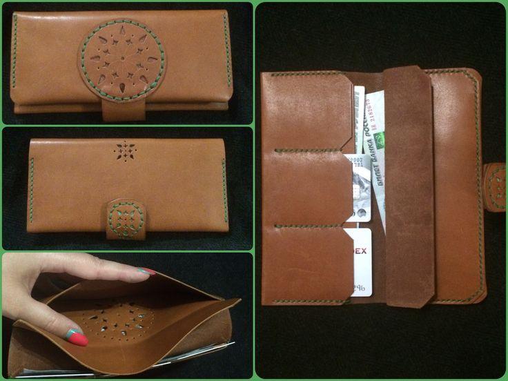 Кошелек кожаный leather wallet. Handmade