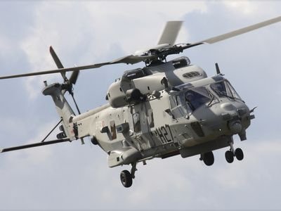 An Italian Navy EH101 Helicopter Prepares For Landing
