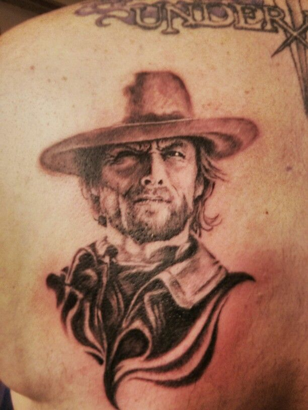 portrait clint eastwood tattoo awesome original tattoos pinterest awesome portrait and. Black Bedroom Furniture Sets. Home Design Ideas
