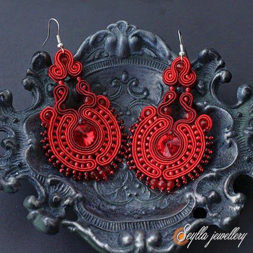 #soutache #sutasz #red #earrings Flamenco www.seyllajewellery.blogspot.com