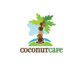 Coconut Cafe Logo design - Logo design of a coconut tree made from coffee mugs.  Price $280.00