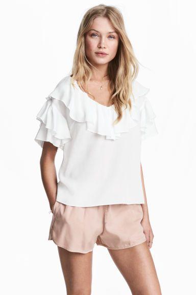 Top à volants - Blanc - FEMME | H&M BE 1