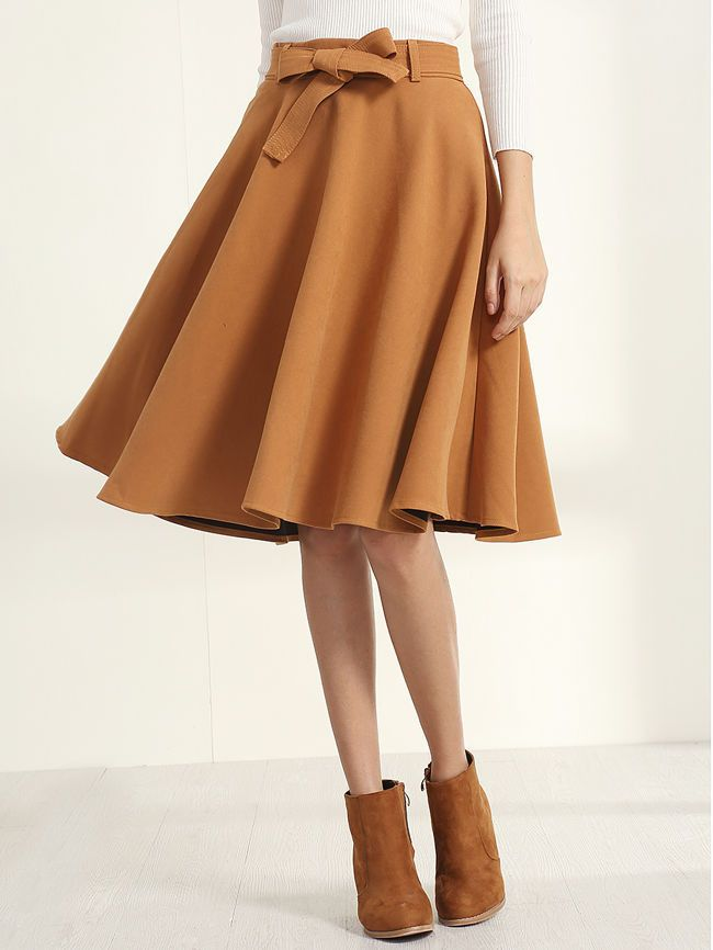 Belted Camel Suede Midi Skirt