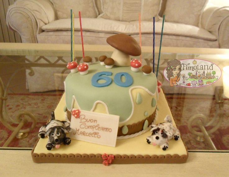 Torta cani e funghi... cake design