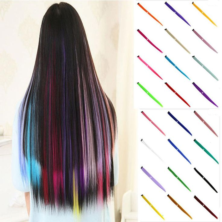 """Women 22"""" Clip On In Colorful Straight Synthetic Hair Toupee Highlight Hair Extension Hair Pieces -- BuyinCoins.com"""