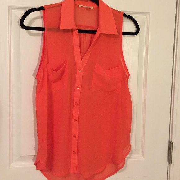 Lush sleeveless collared blouse Cute sheer orange blouse. Size medium. Perfect for spring and summer. Goes great with jeans or shorts! Great for UT football game days! Fairly new and hardly worn bp Tops Blouses