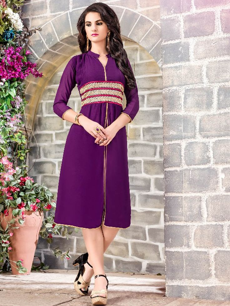 Gracious purple faux georgette ceremonial wear embroidered kurti. Having fabric faux georgette. The beautiful embroidery work and resham embroidery work on the attire adds a sign of beauty statement to your look #mydesiwear #Kurtis #Designerkurtis #CasualKurtis #TrendyCasualkurtis #DiscountOffer #OnlineShopping #PrintedCasualKurti #WeddingCollection #Georgette #PartywearKurtis #WeddingTrendz #StyleWedding