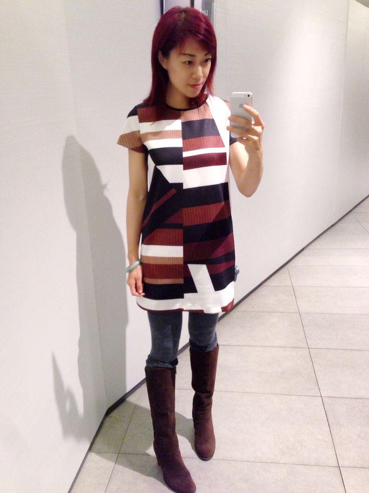 Short sleeves dress, irregular patens, block patens, brown, Zara dress