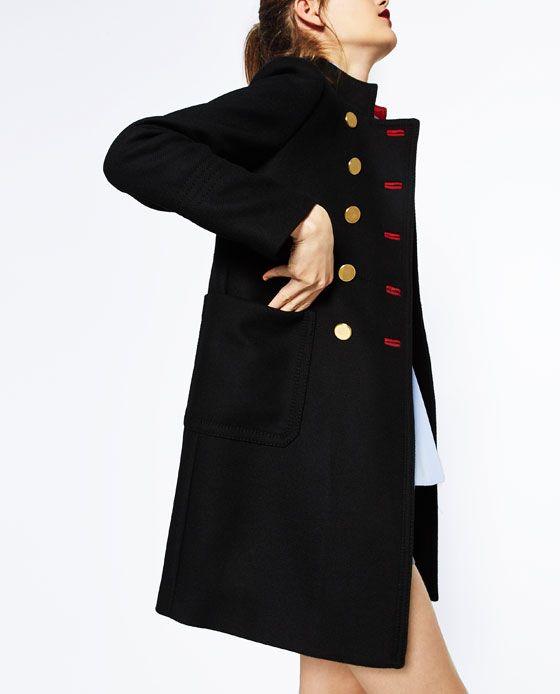 ☼ boutoniere contrastante ☼ Image 6 de MANTEAU À DEUX RANGÉES DE BOUTONS de Zara