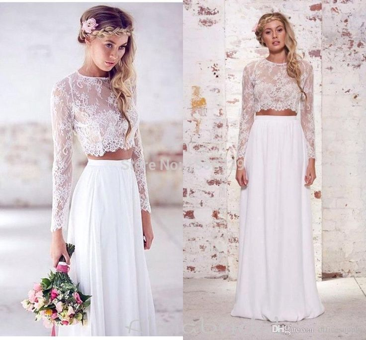 Spring 2018 Two Pieces Crop Top Beach Bohemian Wedding Dresses Chiffon Ruched Floor Length Wedding Gowns Lace Long Sleeve Bridal Dress