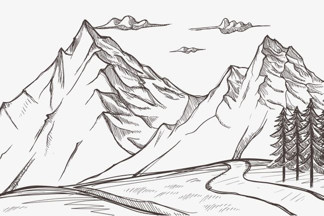 Hand Vector Snow Vector Mountain Vector Nature Natural Scene Return To Nature Mountain Scenery Natural Sce Montanas Dibujo Como Dibujar Cosas Boceto De Montana