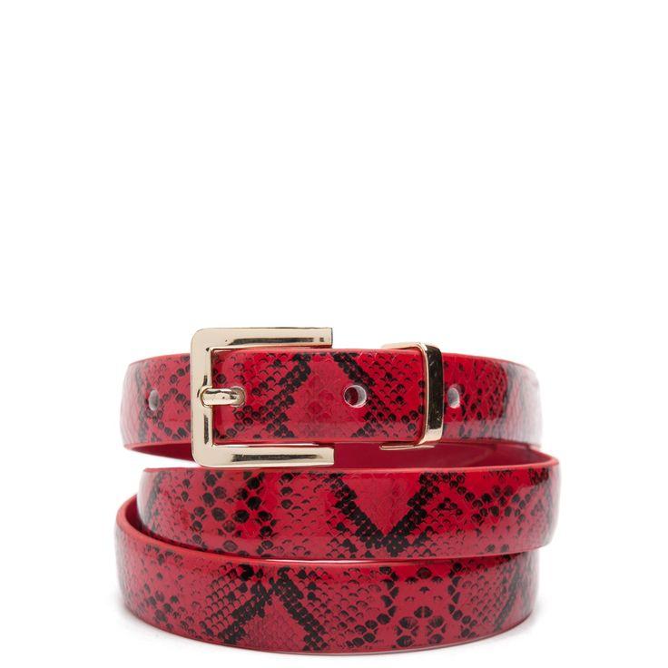Red snakeskin belt