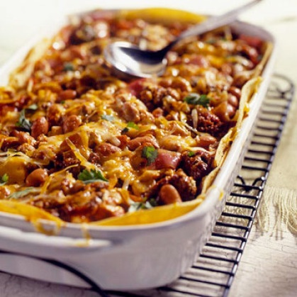 Beef and Bean Enchilada Casserole