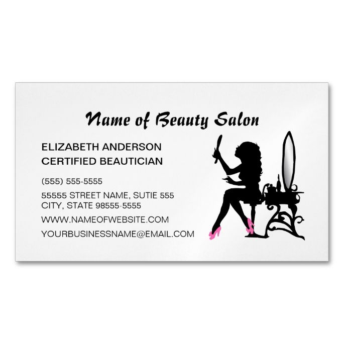 1000 best hair stylist business cards images by modern design beautician pink and black girly girl hair stylist magnetic business card colourmoves