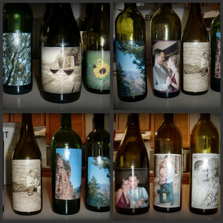Bridal shower mod podge wine bottle centerpieces pics for Wine themed centerpieces