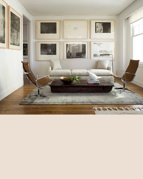 A Small Contemporary Living Room By Designer Jiun Ho Is Warmed Mellow Hardwood Floors And Cooled Steel Gray Walls Tibetan Area Rug