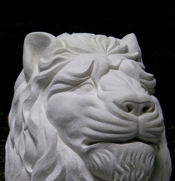 Portland Limestone #sculpture by #sculptor Peter Graham titled: '`Lion Head` (Li...