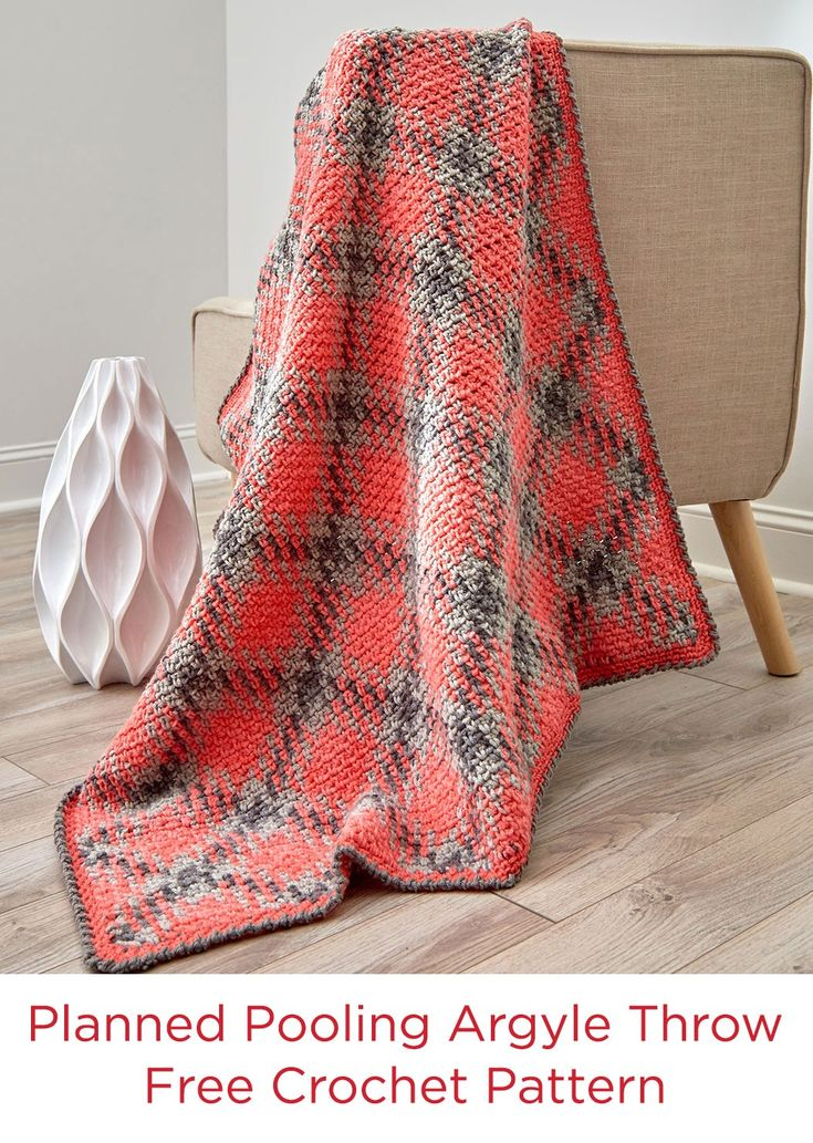 Planned Pooling Argyle Throw or Blanket Free Crochet Pattern in Red Heart Yarns -- Create a new argyle throw to give your room that pop of color and pattern that you crave. We also included a smaller blanket size that is great for a baby or for a smaller lapghan.