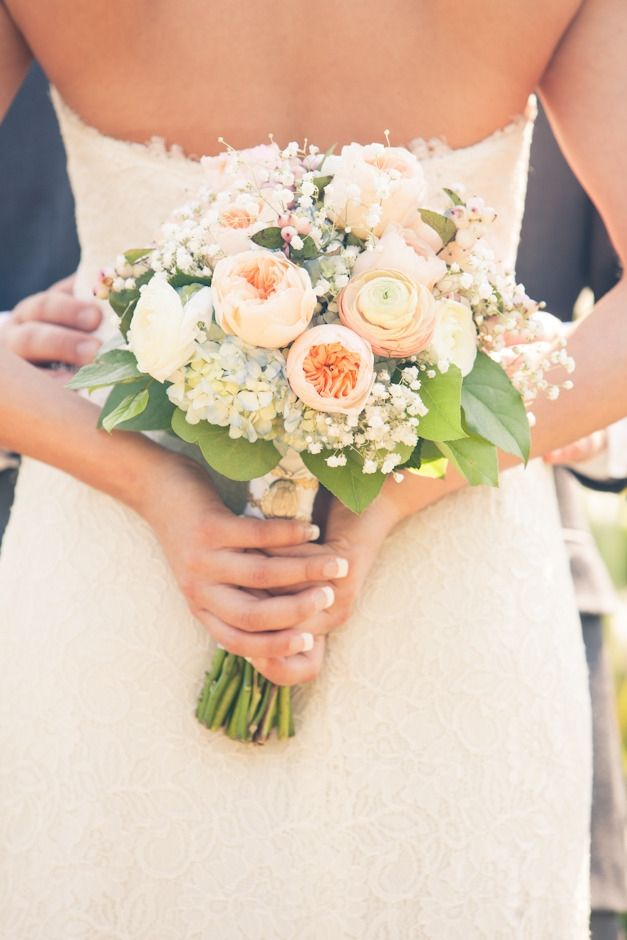 Weddings (flowers wedding bouquet peach white jessica hannon photography the bliss life) - Lover.ly