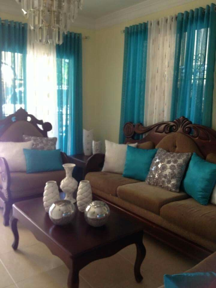 Brown Couch Teal White Silver Accents Decor Home Living