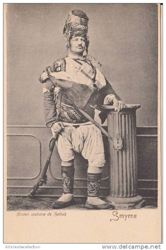 The traditional outfit of the 'Efe' (or: 'Zeybek') from the Izmir region. Late-Ottoman era, end of 19th century. The 'Efe / Zeybek' were the 18th-19th century people's militia of the Aegean coastal area, who sometimes turned themselves into professional brigands.
