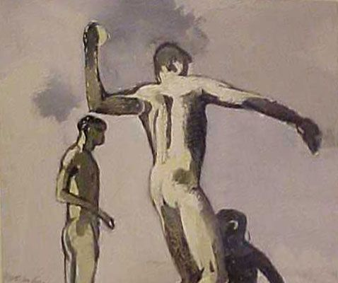 Keith Vaughan-figure throwing at a wave.1914-50. gouache en papel.James Hyman Fine Art, London.