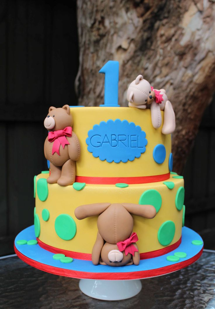Ted bear first birthday cake