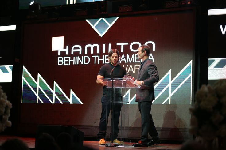 """Mark Wahlberg and Peter Berg presenting the Visual Effects Award, which went to Craig Hammack for """"Deepwater Horizon"""""""