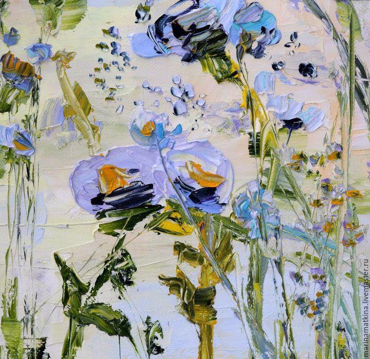 Купить Абстрактные цветы - картина маслом, рельефная живопись мастихином - картина маслом с цветами