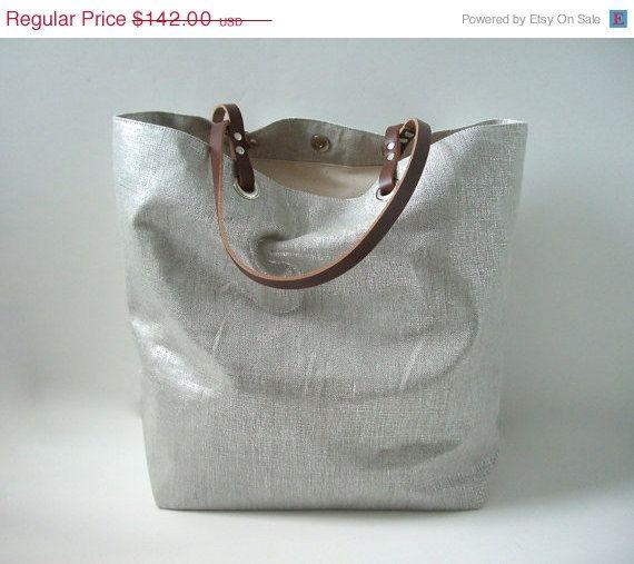 Metallic Silver Tote Bag, Casual Tote Bag, Weekend Bag, Resort Tote, Beach Bag, Handbag,Everyday Bag, Market Tote,Cool Tote Bags, Linen Bag