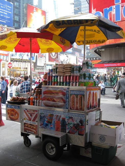 New York City street food carts abound with approximately 3,000 carts throughout the city. What would you give for a Sabarett hot dog?