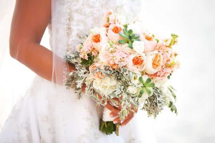 Classic Clearwater Beach Wedding at Sandpearl Resort, FL  Stunning peach, white, and green bouquet!   Photographer:  Limelight Photography