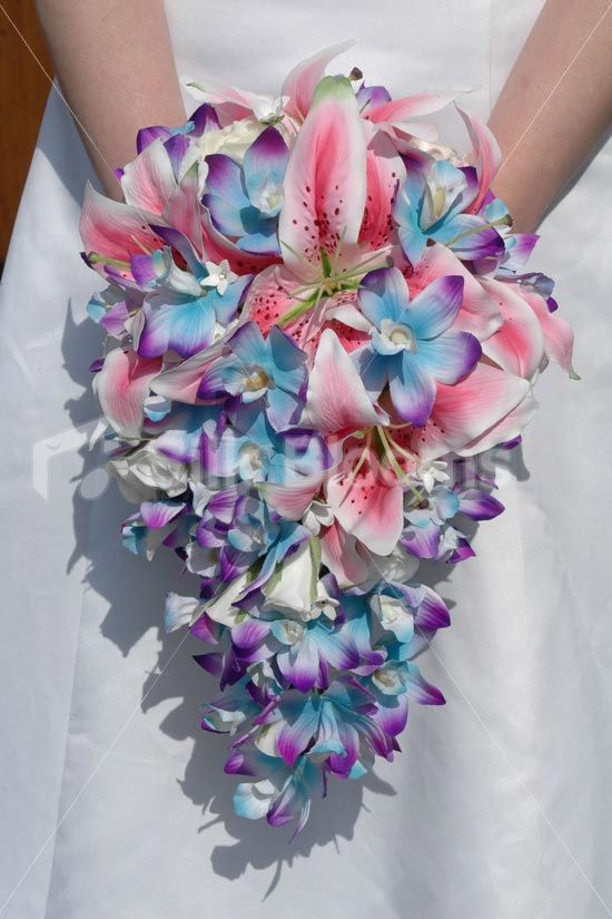 Blue Orchid and Stargazer Lily Tropical Bridal Bouquet Galaxy Blue ...